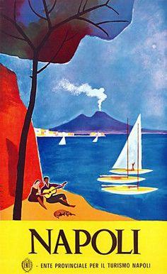 Naples, Italy vintage tourism poster  http://www.vintagevenus.com.au/products/vintage_poster_print-tv664