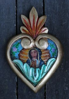 Hand Carved & Painted Heart, Our Lady of Guadalupe Mexican Folk Art Green leaves