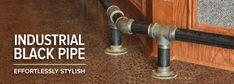 Industrial Black Pipe Bar Foot Rail