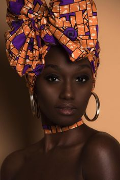 African print head wraps, headbands, chokers, and scrunchies. These accessories are often available in matching sets of African prints. African Textiles, African Fabric, Turbans, Instagram First Photo, African Beauty, African Fashion, African Head Wraps, Beautiful Black Women, Beautiful Ladies