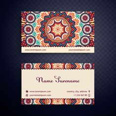 Business card vintage decorative elements ornamental floral vintage business card with mandala design free vector reheart Gallery
