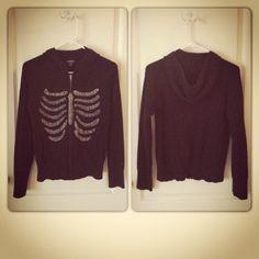 Skeleton Ribcage hoodie sweater $19.00