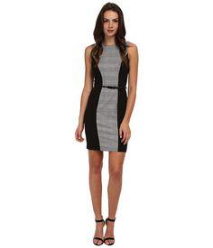 Calvin Klein Plaid Lux Belted Sheath Black/Eggshell - 6pm.com