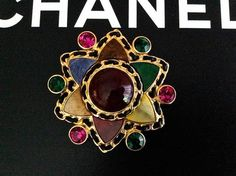 Vintage Chanel Major 95A Campaign Piece. Gripoix Glass semi-precious stones Brooch . Modeled by super model Shalom Harlow.  From VINTAGE-FRANCE-DE-COUTURE by sincere_international