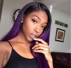 Hair Extensions & a Bundles Black/Purple Straight Hair Weave Hairstyles, Pretty Hairstyles, Straight Hairstyles, Hairdos, Purple Hair Extensions, Ombre Hair Weave, Thing 1, Natural Hair Styles, Long Hair Styles