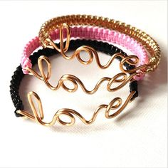 Gold Love Bracelet with Lace by IMaccessories on Etsy, $7.75