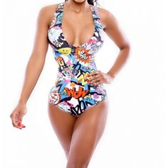 Sexy Print One-piece Bikini Swimwear(No Padding)