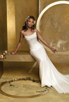1062W    Chiffon 2 piece wedding dress with scattered beading and detachable train.
