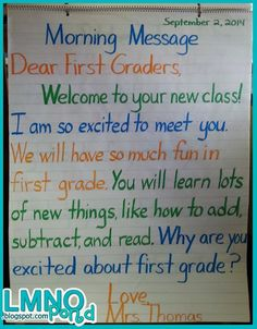 My first few days of first grade: Morning Message- each group reads aloud different color First Day First Grade, First Grade Writing, Teaching First Grade, First Grade Teachers, First Grade Classroom, Second Grade, Grade 1, Morning Meeting First Grade, Fourth Grade