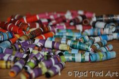 Love how fun and colourful Magazine Beads are -a great way to recycle old magazines and while away a rainy afternoon!