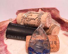 Blue sea glass drop necklace