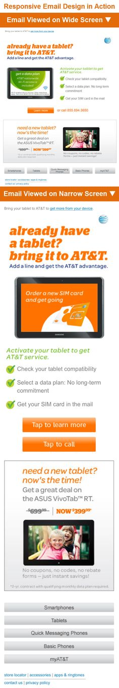 """AT & T >> sent 6/27/13 >> Your tablet. Our network. Together, they're better. >> This is a great responsive email. The animated hero image is on-topic and effective, the bullets are clear and helpful, and the CTAs even adapt to the viewing environment—that is, the """"Learn more"""" button & """"or call 855.894.3650"""" text on the wide-screen version become """"Tap to learn more"""" & """"Tap to call"""" buttons on the narrow-screen version. —Chris Studabaker, Regional Manager, Global Services, ExactTarget"""