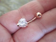 Heart Rose Gold Titanium Plated Belly Button Ring $4.99