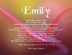 origin and meaning of the name emily | Emily Name Meaning