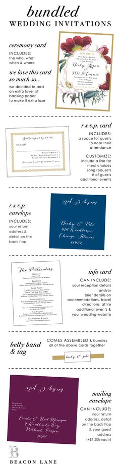 What's in a modern day wedding invite? | A helpful guide to what pieces you should include in your wedding invitations by Beacon Lane