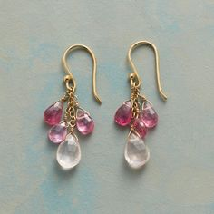 ROSE MIST EARRINGS -- Trios of pink tourmaline rain down on rose quartz briolettes in handcrafted earrings by Anne Sportun. 14kt gold