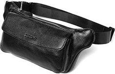 Cheap Tiding Men's Black Genuine Leather Belt Bags Modern Simple Waist Bag 3090…