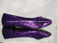 Ladies Purple Glitter Flat Shoes Evening Footwear - Burlesque Shoes ~ $60