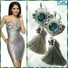 Blue belle- handmade, soutache earrings