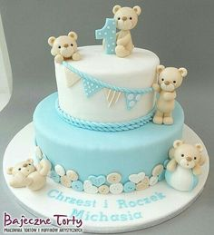 – Related posts: – … Eli's baptism cake featured bunting, baby blocks, and an adorable sugar elep… Birthday Cake Ideas For Women Vintage Desserts 39 Ideas Baby Boy Cakes, Baby Shower Cakes, Bolo Panda, Baby First Birthday Cake, Teddy Bear Cakes, Cake Designs, Sugar Art, Cake Decorating, Gum Paste