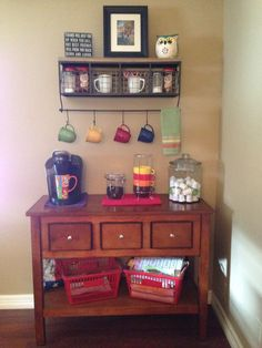 Coffee bar :) I like the clear jar with creamer in it and the shelf above to hold mugs