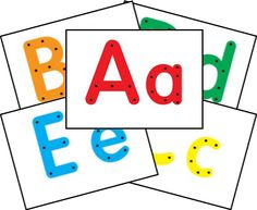 Alphabet Lacing Cards...print on cardstock, laminate, and get shoelaces!