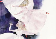 by Chihiro Iwasaki Japanese Illustration, Watercolor Illustration, Watercolor Paintings, Watercolour, Andersen's Fairy Tales, Japanese Watercolor, Cicely Mary Barker, Japanese Artists, Beautiful Paintings