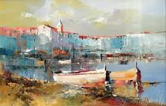 Branko Dimitrijevic, Quiet Sea, Oil on canvas, Impressionist Paintings, Seascape Paintings, Paintings I Love, Watercolor Paintings, Watercolor Ideas, Urban Landscape, Landscape Art, Landscape Paintings, Landscapes