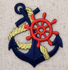 Embellishments & Finishes Iron On Applique Embroidered Patch Blue Anchor With Gold Rope Red Ships Wheel & Garden Machine Embroidery Patterns, Embroidery Patches, Embroidery Applique, Beaded Embroidery, Embroidered Patch, Embroidery Ideas, Camisa Polo, Iron On Applique, Pin And Patches