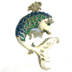 Fish Figural Brooch with Enamel and by AgedandOpulentJewels
