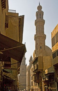 Mosque & minaret, Old Cairo by Byrd on a Wire, via Flickr