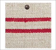Fabric by the Yard - Vintage Grain Sack Red Stripe #potterybarn