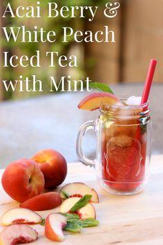 Acai Berry  White Peach Iced Tea with Mint #BrewOverIce