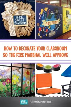 How to Decorate Your Classroom So the Fire Marshal Will Approve. Decorating a classroom is half the fun of teaching, but local fire codes can restrict your options. Try these ideas for fire-resistant classroom decor. Diy Classroom Decorations, Classroom Setting, Classroom Setup, Classroom Design, School Classroom, Classroom Organization, Classroom Furniture, Classroom Supplies, Fire Safety Tips