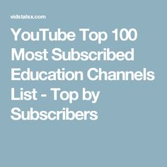 YouTube Top 100 Most Subscribed Education Channels List - Top by Subscribers