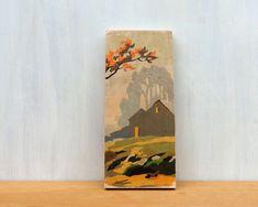 Paint by Number Art Block Fall Barn Silhouette - autumn, rural landscape, vintage art via Etsy