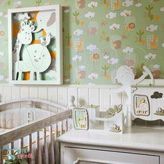 Papel de Paredes para decoração de quarto de bebê e infantil Bobinex Bambinos 3303, REF3303, safari, animais, leão, elefante, macaco, girafa, hipopótamo,passarinho, verde | SP, BH, MG, RJ, DF