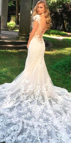 Best Wedding Dresses From Top USA Designers ★ beautiful wedding dresses straight cap sleeves open back lace eve of milady Most Beautiful Wedding Dresses, Popular Wedding Dresses, Dream Wedding Dresses, Romantic Bridesmaid Dresses, Bridal Dresses, Flower Girl Dresses, Maxi Dresses, Designer Wedding Gowns, Bridal Style