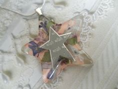 Make A WishStar Shaped Resin Pendant w/Etched by giftforallseasons, $29.00