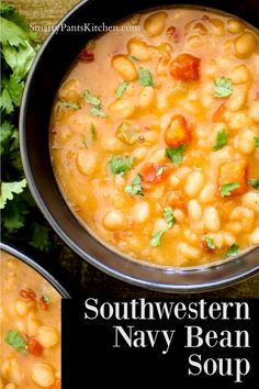Zesty and flavorful Navy Bean soup with hints of the Southwest! Simple ingredients, healthy, stovetop or slowcooker recipe! Easy Recipes For Beginners, Cooking For Beginners, Thanksgiving Recipes, Fall Recipes, Dinner Recipes, Navy Bean Soup, Stewed Tomatoes, Southern Recipes, Soul Food