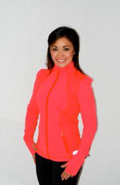 Lorna Jane - Influence Excel Zip Through - Fluro Orange #shoptwirlboutique #lornajane