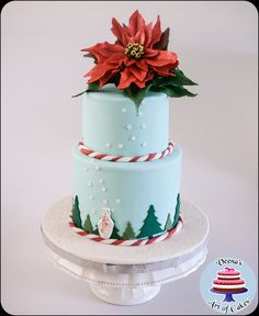 Christmas Cake with Sugar Poinsettia - Veena's Art of Cakes