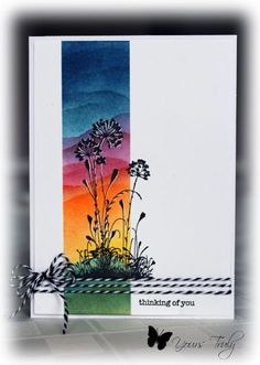 handmade card: Serene Thinking of You by YoursTruly  ... one-layer card ... masked column sponged with rainbow colors for a landscape look ... silhouette flowers stamped in black with a bit of white gel pen ...wrapped in baker's twine at the bottom ... beautiful card ... Stampin' Up!!