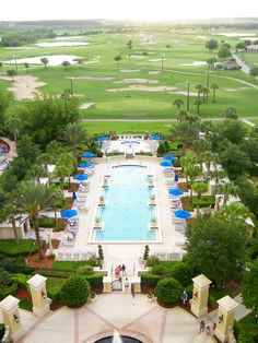 Omni Orlando at Champion's Gate. This is the adult pool, jacuzzi and cabanas and a gorgeous golf course view.