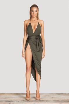 Celebrity Stretch Wrap Dress Waistline: Empire Dresses Length: Knee-Length Silhouette: Sheath Neckline: V-Neck Sleeve Length: Sleeveless Pattern Type: Solid Sleeve Style: Spaghetti Strap Material: Pol