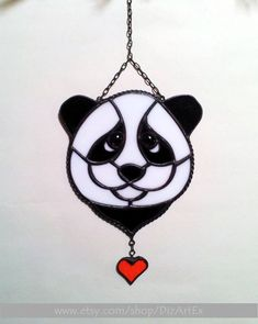 Stained Glass Panda Pendant. Black And White And Red. Handmade. Home decor. DizArtEx. by Jelena DizArtEx on Etsy #panda #pendant #homedecor