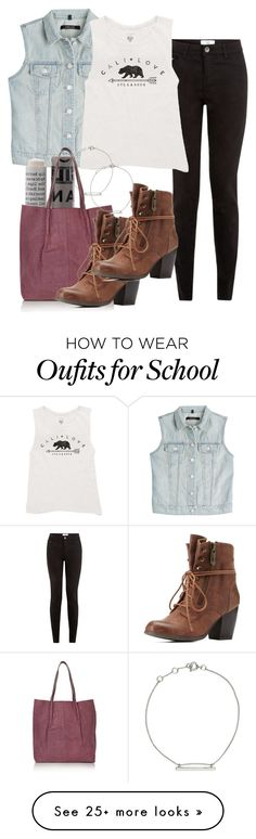 """Kai inspired school outfit"" by tvdstyleblog on Polyvore featuring J Brand, Billabong, Korres, H&M, Topshop, Charlotte Russe, women's clothing, women's fashion, women and female"