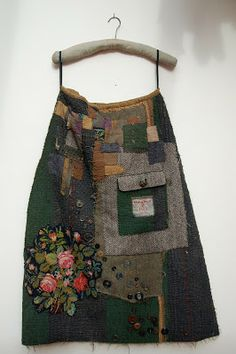 """MANDY PATTULLO MANDY green wool skirt====PATTULLO:: """"This piece was made in 2008 and kick started my whole interest in what I call my """"Thread and Thrift"""" approach to textiles. Diy Fashion, Womens Fashion, Quilt Festival, Refashioning, Cycling Outfit, Sewing Clothes, Diy Clothes, Dressmaking, Wearable Art"""