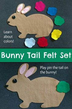 Bunny Tail Felt Set #bunny #easter #easterbunny #game #color #colour #felt #toddler #preschool #preschoolers #prek #busybags #affiliate