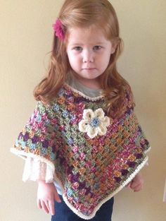 Poncho for toddler or child size. Crochet by TracyplusCrochet